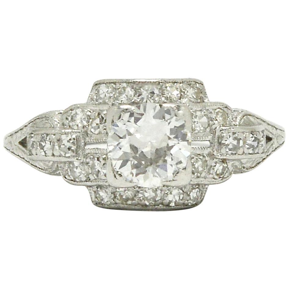 Geometric Art Deco Platinum Diamond Engagement Ring 3/4 Carat Old European Cut