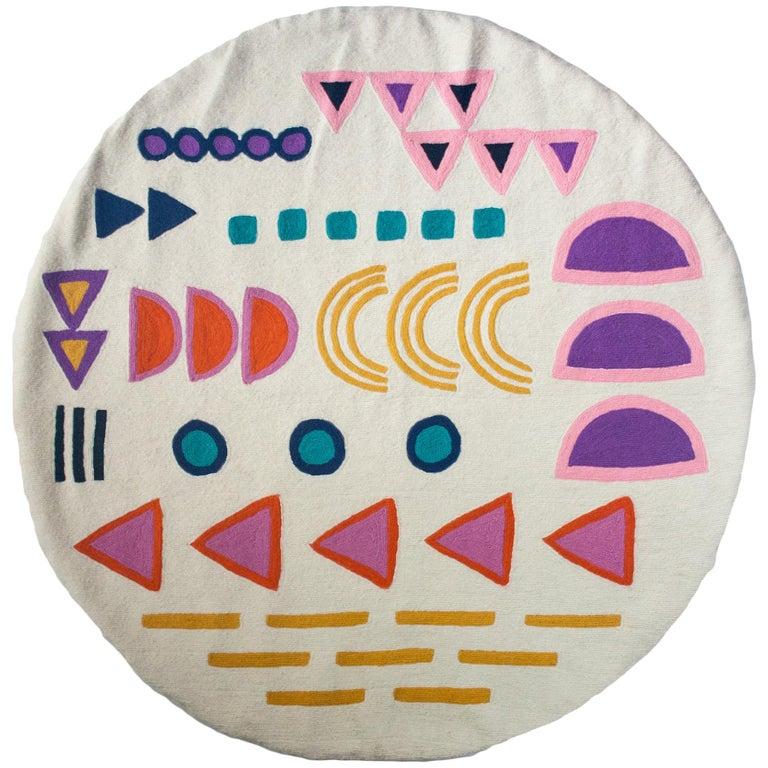 Geometric Aurelia Hand Embroidered Modern Round Rug, Carpet For Sale