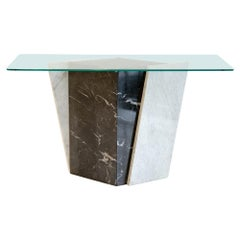 Geometric Black and White Marble Console Table with Glass Top, 1980s