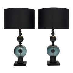 Geometric Black Murano Glass Lamps