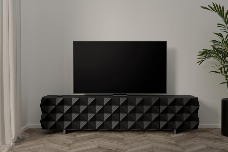 Mexican Geometric Black TV Cabinet from Rocky Collection by Joel Escalona For Sale