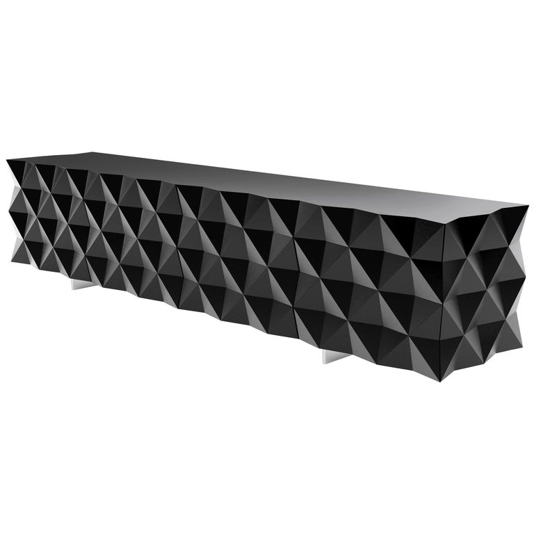Geometric Black TV Cabinet from Rocky Collection by Joel Escalona For Sale