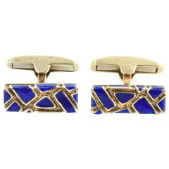 Geometric Blue Enamel and Gold Cufflinks