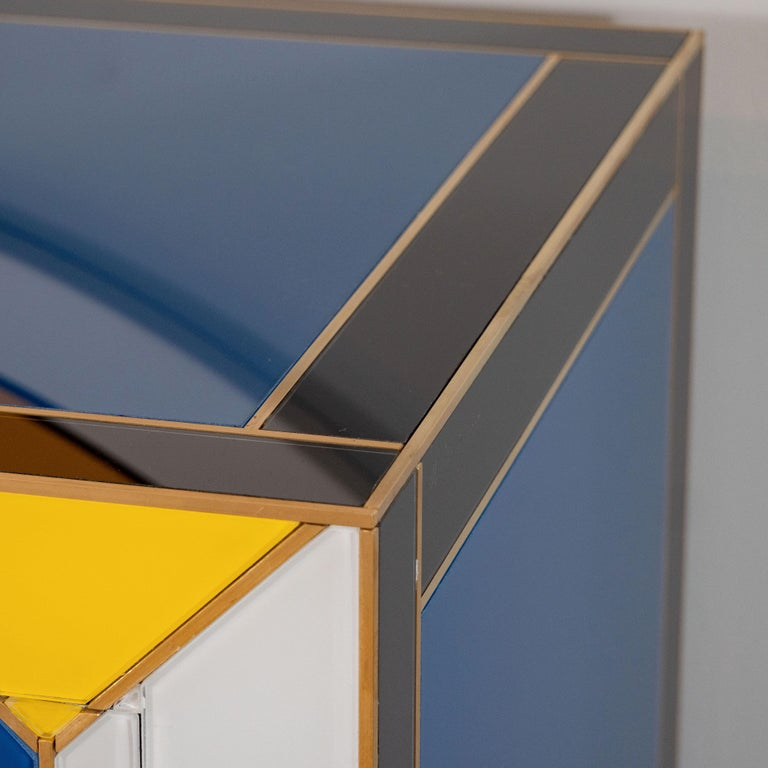 Geometric Blue, Ivory, Black and Yellow Glass with Brass Inlay Commode, Spain For Sale 2