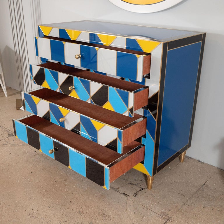 Geometric Blue, Ivory, Black and Yellow Glass with Brass Inlay Commode, Spain For Sale 5