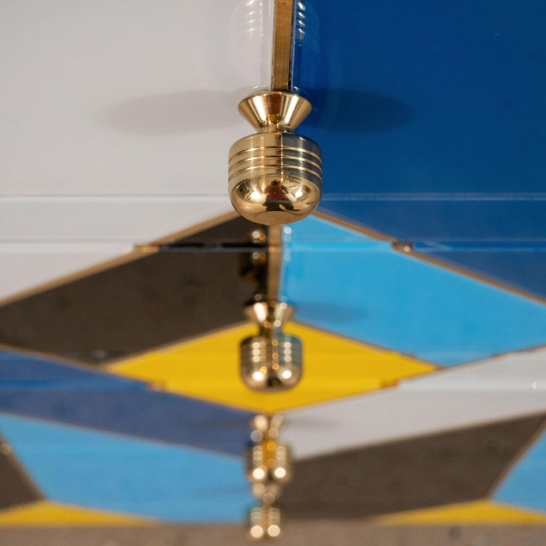 Geometric Blue, Ivory, Black and Yellow Glass with Brass Inlay Commode, Spain For Sale 6