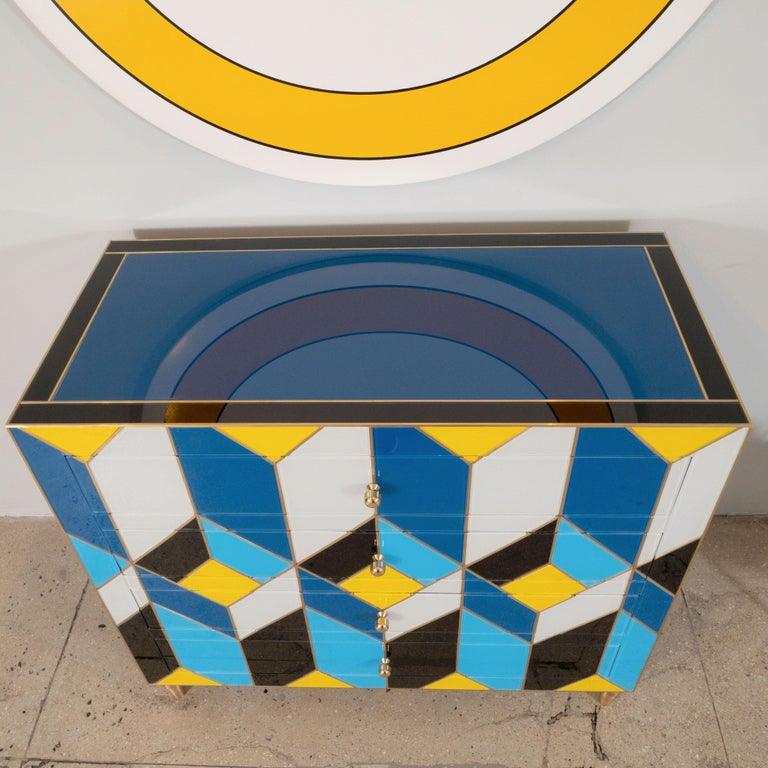 Geometric Blue, Ivory, Black and Yellow Glass with Brass Inlay Commode, Spain For Sale 7