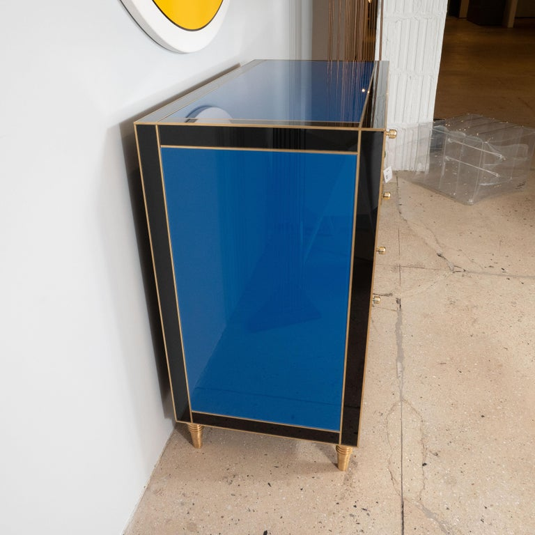 Geometric Blue, Ivory, Black and Yellow Glass with Brass Inlay Commode, Spain For Sale 8