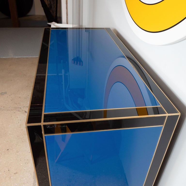 Geometric Blue, Ivory, Black and Yellow Glass with Brass Inlay Commode, Spain For Sale 10
