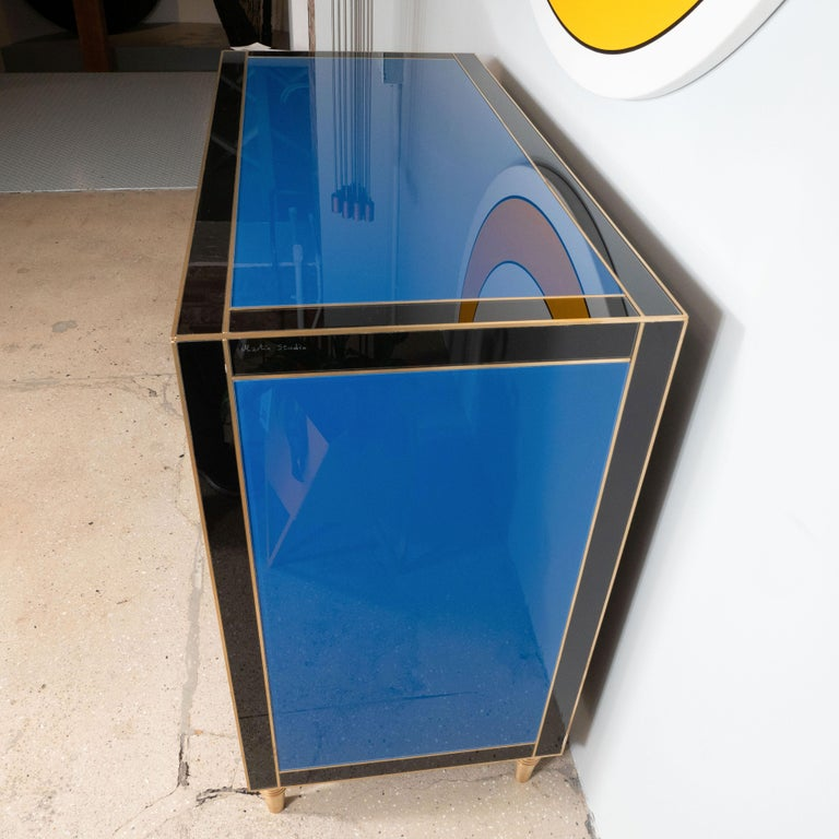 Geometric Blue, Ivory, Black and Yellow Glass with Brass Inlay Commode, Spain For Sale 11