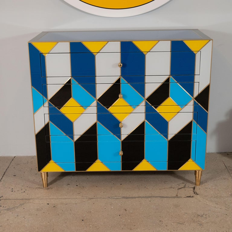 Hand-Crafted Geometric Blue, Ivory, Black and Yellow Glass with Brass Inlay Commode, Spain For Sale