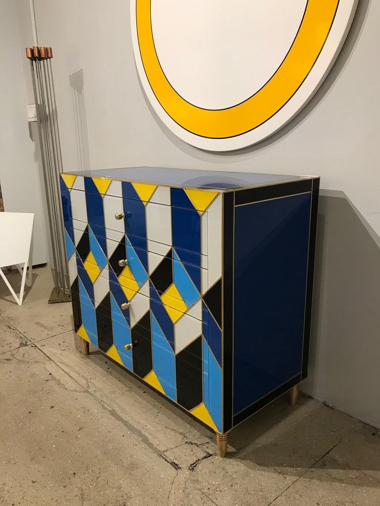 Modern Geometric Blue, Ivory, Black and Yellow Glass with Brass Inlay Commode, Spain For Sale