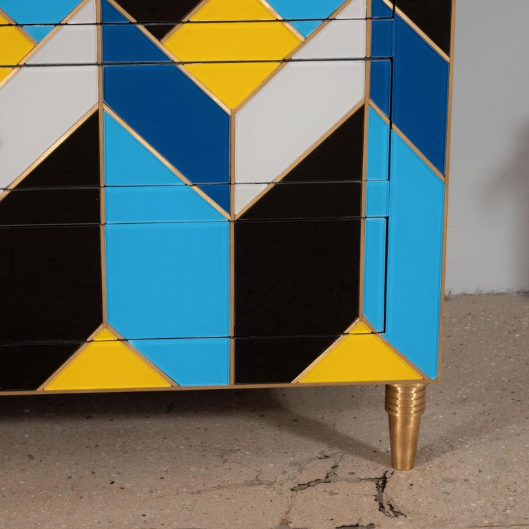 Contemporary Geometric Blue, Ivory, Black and Yellow Glass with Brass Inlay Commode, Spain For Sale