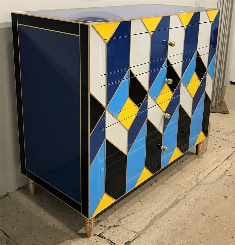 Spanish Geometric Blue, Ivory, Black and Yellow Glass with Brass Inlay Commode, Spain For Sale