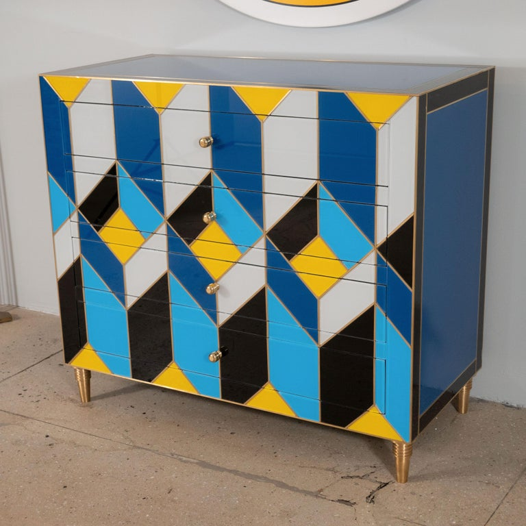 Art Glass Geometric Blue, Ivory, Black and Yellow Glass with Brass Inlay Commode, Spain For Sale