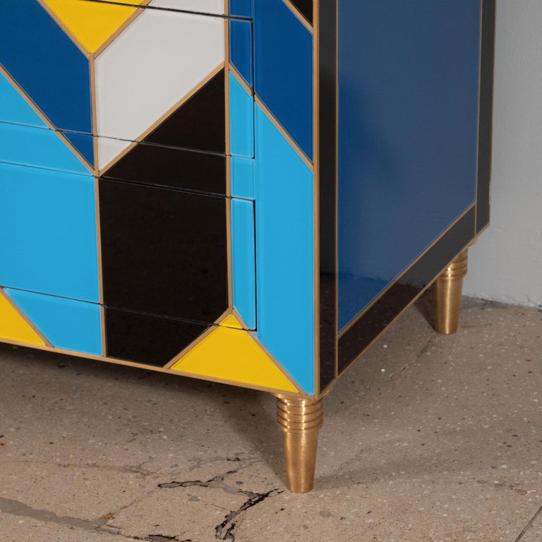 Geometric Blue, Ivory, Black and Yellow Glass with Brass Inlay Commode, Spain For Sale 1