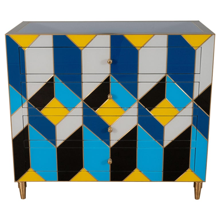 Geometric Blue, Ivory, Black and Yellow Glass with Brass Inlay Commode, Spain For Sale