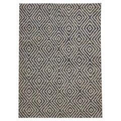 Geometric Blue Kilim Rug Scandinavian Style Modern Rug, Handmade Carpet