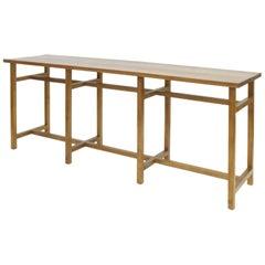 Geometric Book Matched Minimal Console Hardwood Table