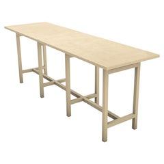 Geometric Book Matched Minimal Console Oak Table