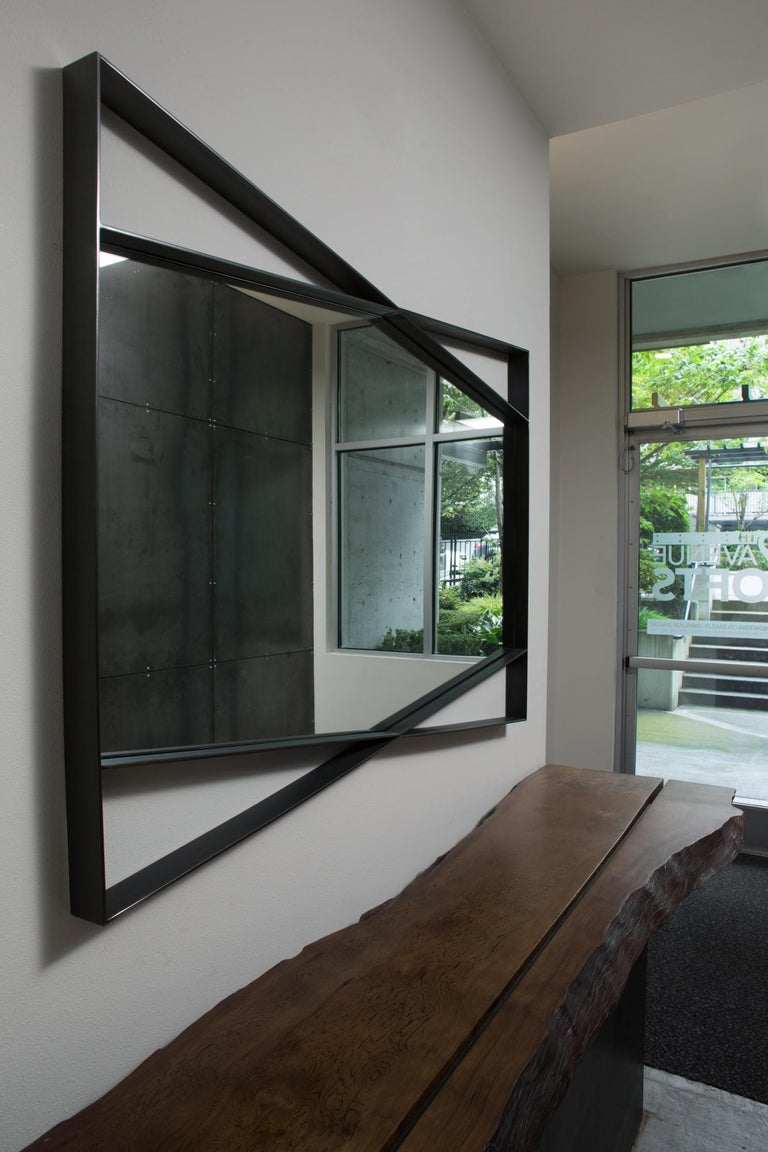Contemporary Geometric Bow Tie Mirror in Blackened Steel by Force/Collide For Sale