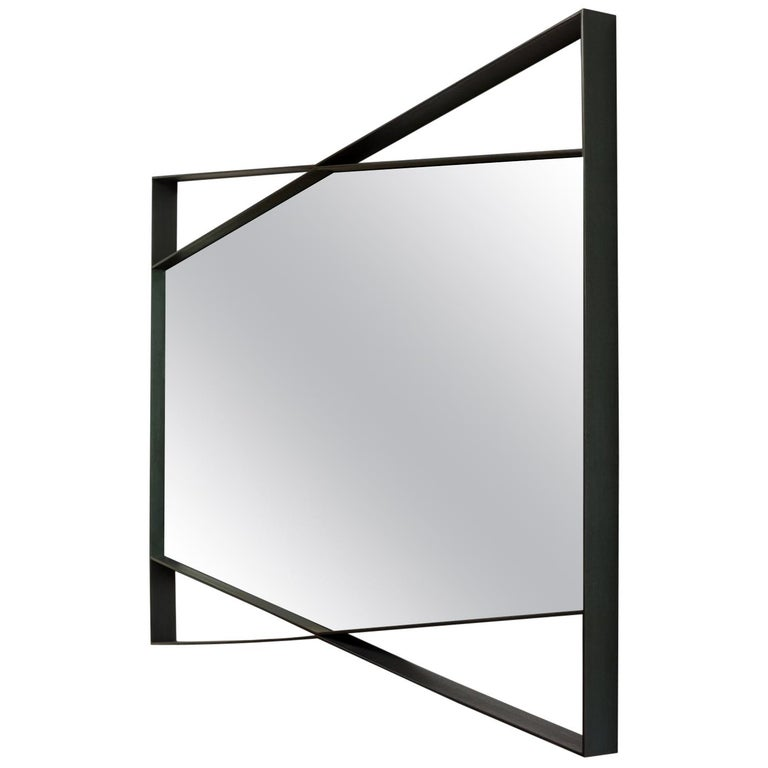 Geometric Bow Tie Mirror in Blackened Steel by Force/Collide For Sale