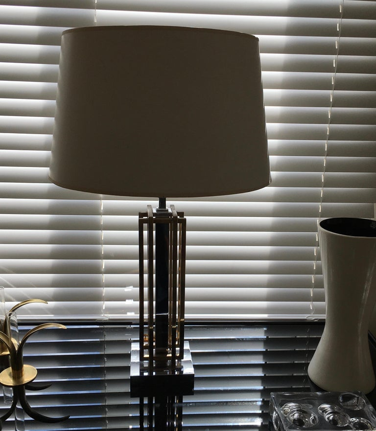 Belgian Geometric Brass and Chrome Table Lamp by Willy Daro, Belgium, 1970 For Sale
