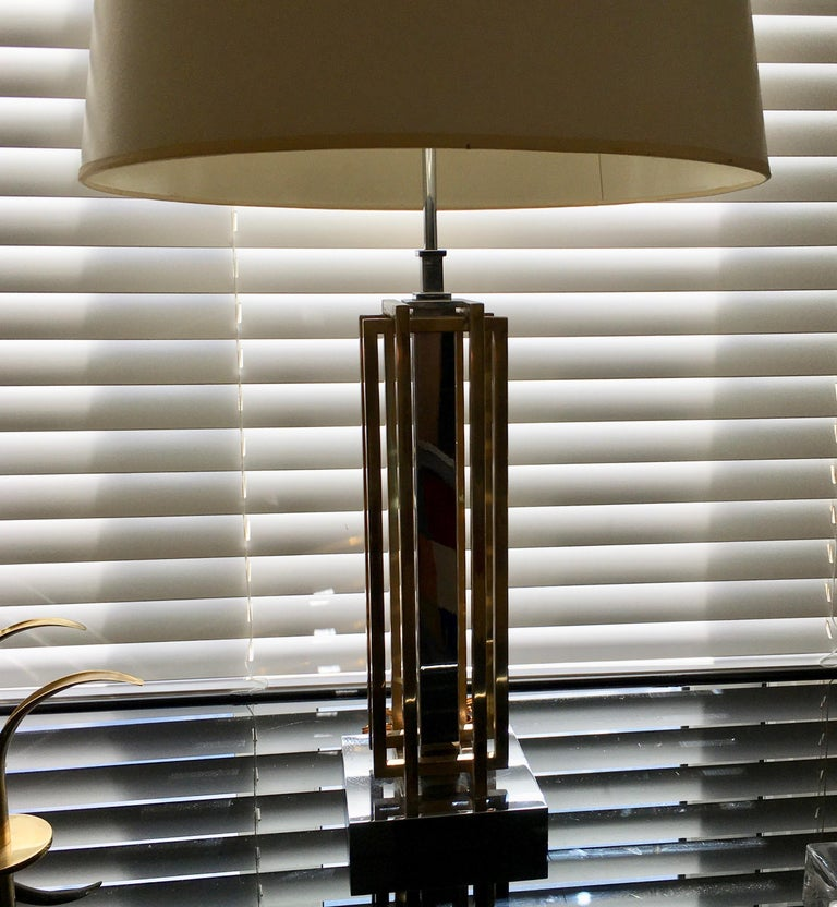 Geometric Brass and Chrome Table Lamp by Willy Daro, Belgium, 1970 In Good Condition For Sale In Brussels, BE