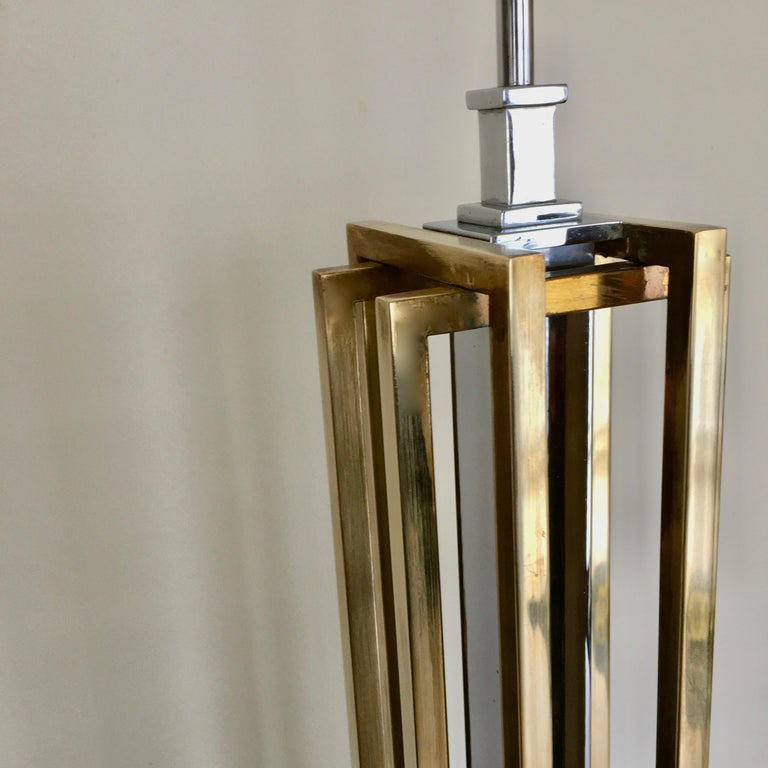 Geometric Brass and Chrome Table Lamp by Willy Daro, Belgium, 1970 For Sale 2