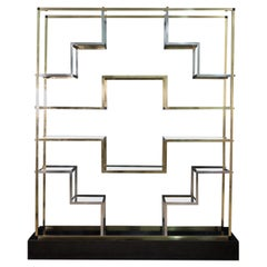Geometric Brass Étagère with Black Lacquered Wooden Base, Italy, 1970