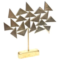 Geometric Brass Signed Chevalier Sculpture, 1960s, French