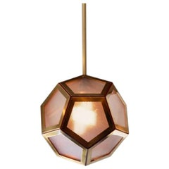 Geometric Brass, Tan Leather and Glass 'Pentagone' Lantern by Design Frères