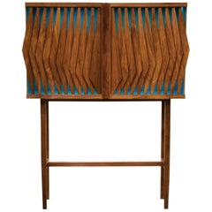 Geometric Cabinet with Light, Walnut and Tzalám Solid Wood, Crafted in México