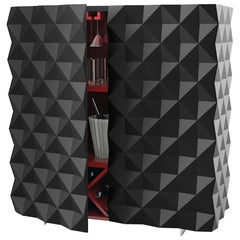 "Geometric Cantina Bar Cabinet ""Rocky"" — Black"