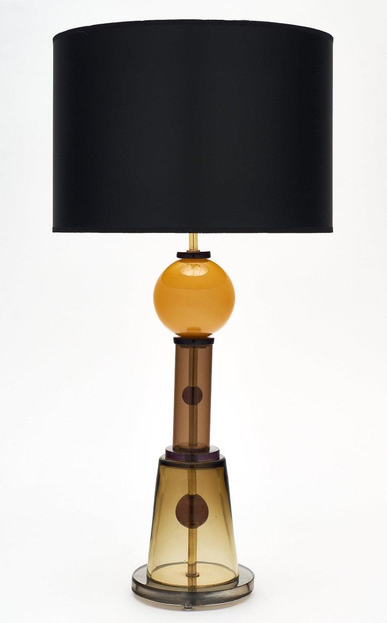Geometric Caramel Murano Glass Lamps 3