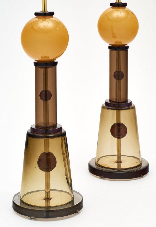 Geometric Caramel Murano Glass Lamps 5