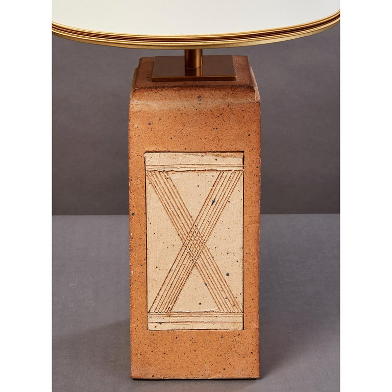 Mid-Century Modern Geometric Ceramic Lamp with Abstract Decor, France, 1970s For Sale