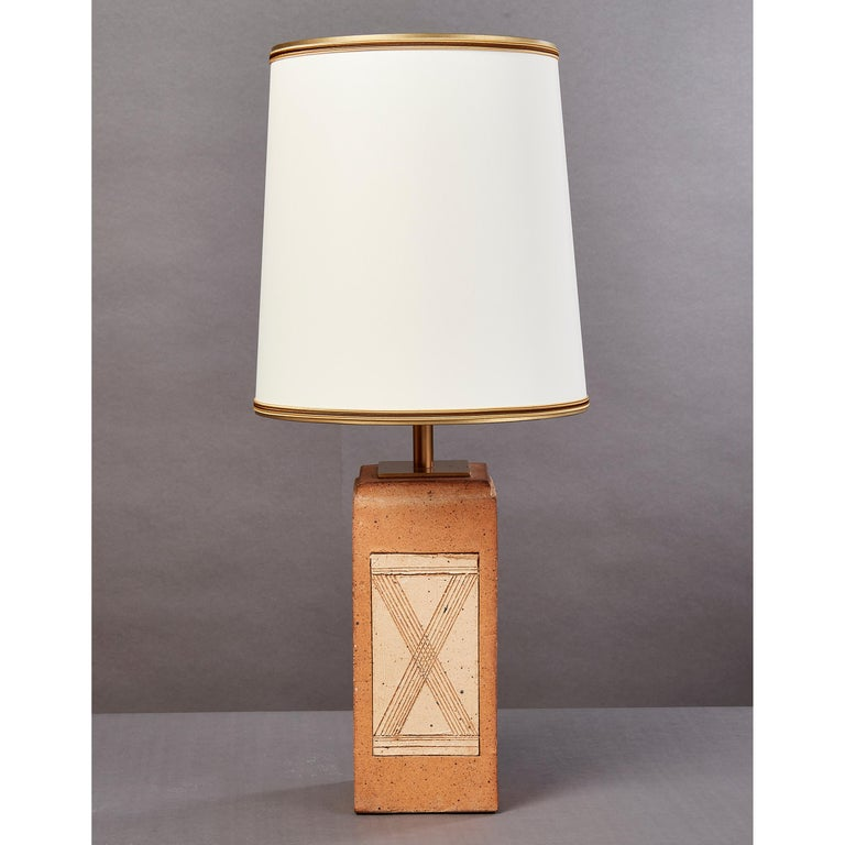 French Geometric Ceramic Lamp with Abstract Decor, France, 1970s For Sale