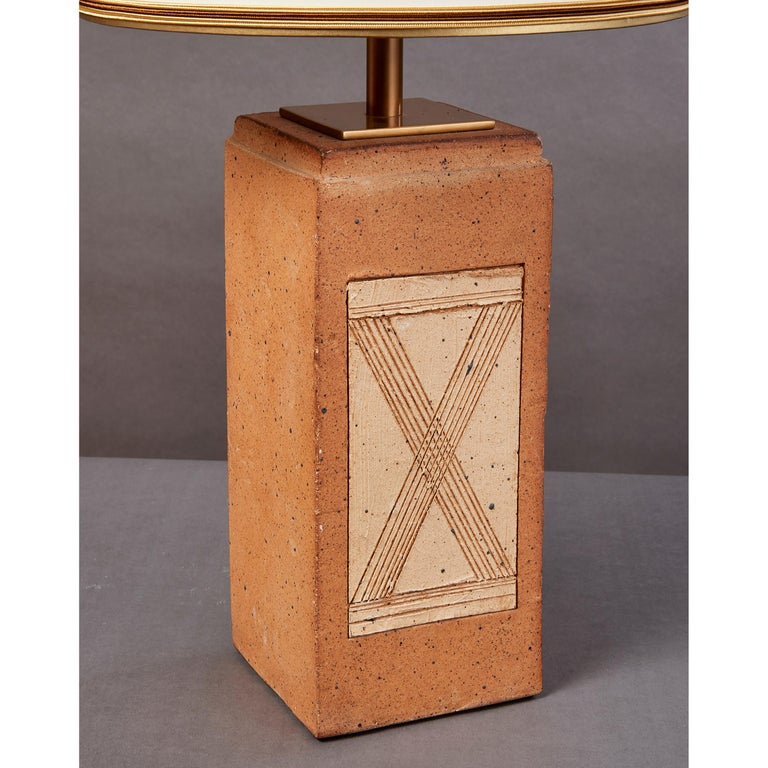 Geometric Ceramic Lamp with Abstract Decor, France, 1970s In Good Condition For Sale In New York, NY