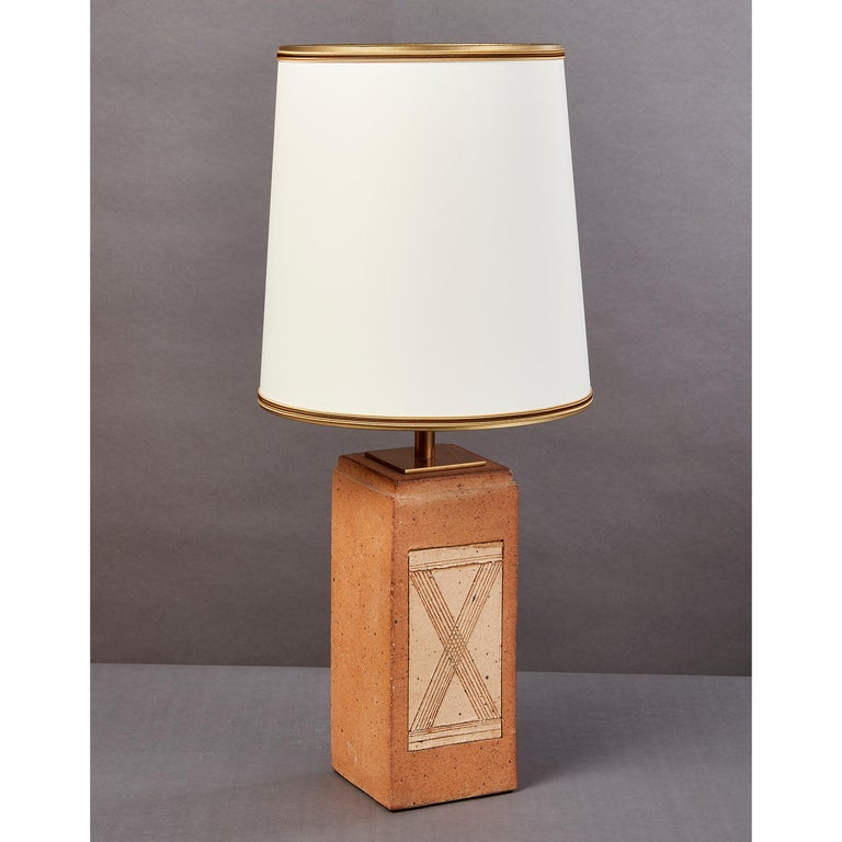 Late 20th Century Geometric Ceramic Lamp with Abstract Decor, France, 1970s For Sale