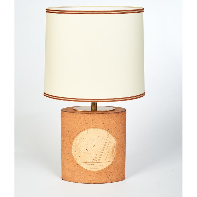 Geometric Ceramic Lamp with Abstract Decor, France, 1970s For Sale 1