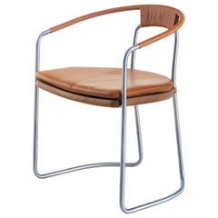 Geometric Chair in Walnut, Satin Nickel and Leather by Craig Bassam