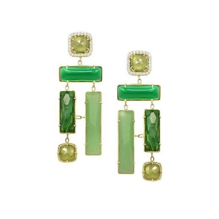 Round Cut Geometric Chalcedony Corundum Aventurine Yellow Gold Designer Earrings for Her For Sale