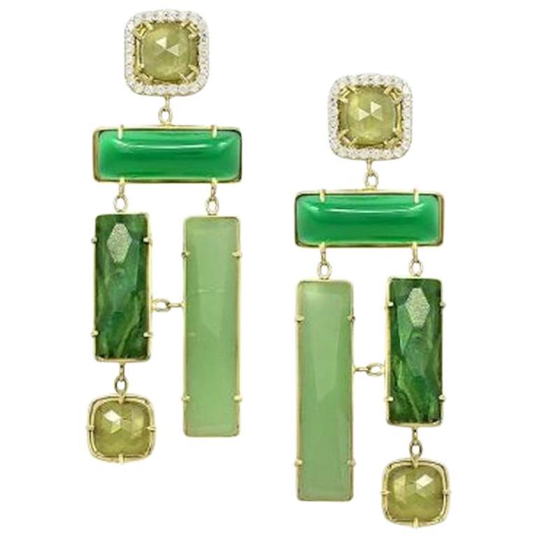 Geometric Chalcedony Corundum Aventurine Yellow Gold Designer Earrings for Her For Sale