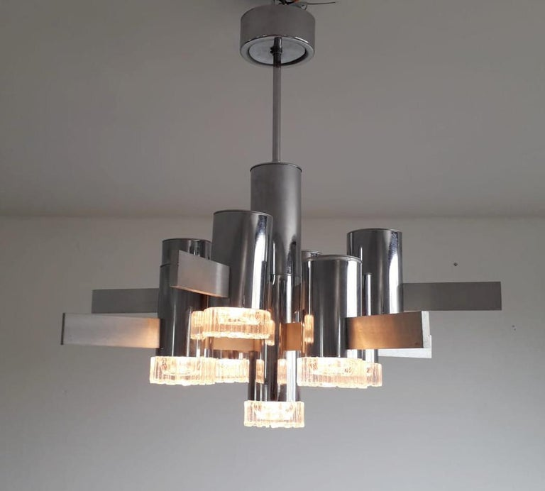 Geometric Chandelier by Gaetano Sciolari In Good Condition For Sale In Palm Springs, CA