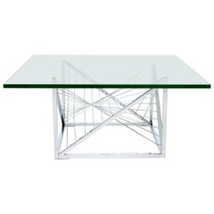 Geometric Chrome Coffee Table Sculpted Metal Work Attributed to Diego Matthai