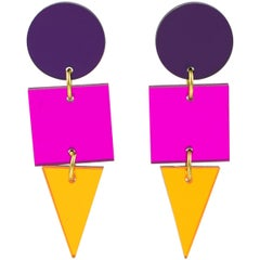 Geometric Color Block Dangle Lucite Pierced Earrings