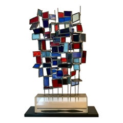 Geometric Colored Glass Wire Sculpture, 1973