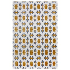 Geometric Contemporary Area Rug Blue Yellow, Handmade Wool Silk, Byzantin