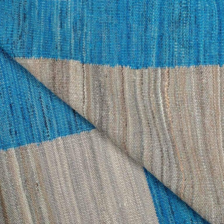 Geometric Contemporary, Blue and Gray Kilim Design For Sale 5